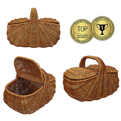 Large Vintage Picnic Basket 2 Lids Shopping Wicker Bag Hamper  - 100% ECO