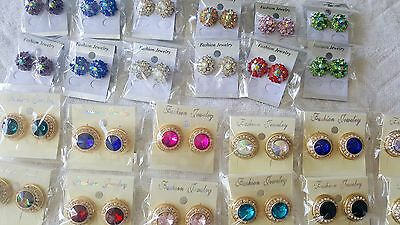 Joblot of 24 pairs Mixed color  Diamante stud Earrings - NEW Wholesale Lot 4