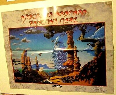 Anderson Bruford Wakeman Howe 1989 ON TOUR Promo Poster Signed/No Roger Dean
