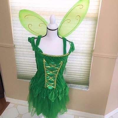 Green Fairy Costume w Lime Green Wings Size Adult Large New w Tag Totally Ghoul