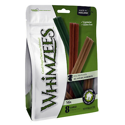 Whimzees Stix Large 8 Pack (480g) Dog Natural Puppy Dental Chews Oral