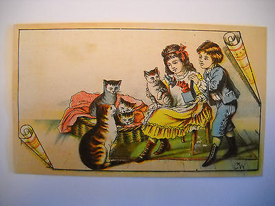 CHILDREN PLAY WITH CAT FAMILY antique Victorian scrapbook card CHROMOLITHOGRAPH