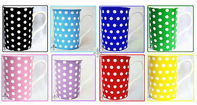 Dots Mugs Set of 4 Bone China Black Blues Green Pink Purple Red Yellow Mugs