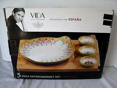 EVA MENDES VIDA ESPANA 5 Piece Serving Set CATALINA Tray Platter Dip Bowls NEW
