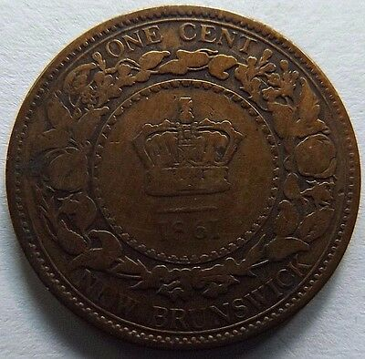 1861 New Brunswick One Cent! 1St Year Of Issue! Only 1,000,000 Minted!
