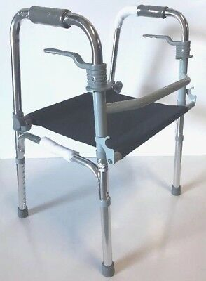 Walking Frame Lightweight 2.9kg Fold Out Seat Rehab O Therapy Alt To Rollator BN