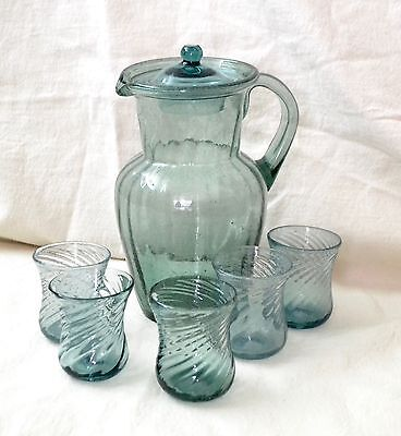 Vintage Mexico Glass Pitcher Mouth Blown Bubble Swirl, Turquoise/6 glasses