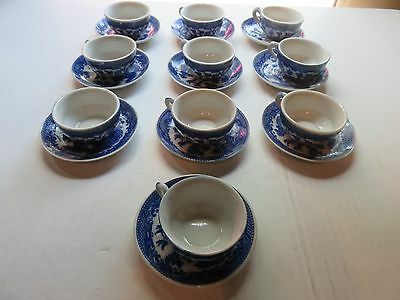 Vintage Blue Willow childs tea set 10 cups with saucers