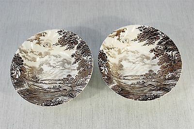 """Two 6 1/2"""" Cereal Bowls, Ridgway Country Days  Brown Ironstone transferware EXC+"""