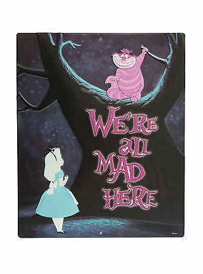 """Disney Alice In Wonderland """"We're All Mad Here"""" Alice & Cheshire Metal Tin Sign"""