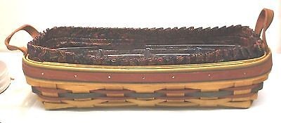 Longaberger 1997 Bread Cracker Basket Paisley Liner & Divided Plastic Insert