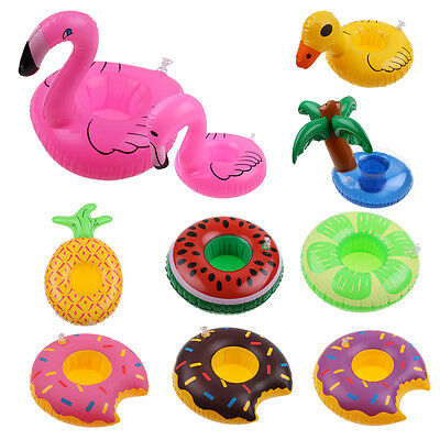 Inflatable Fruits Water Float Bottle Cup Drink Holder Beverage Boat Pool Party