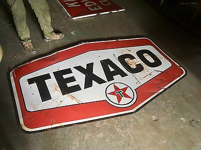 Original Porcelain 1960's Texaco Gasoline Double Sided Advertising Sign Gas Oil!