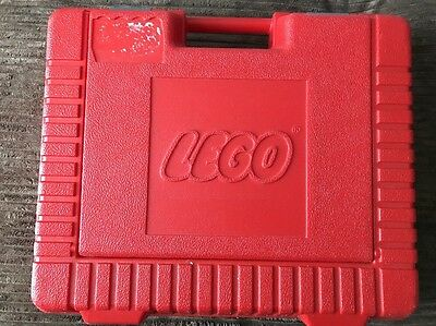 """Vintage 1985 LEGO Red Hardshell Storage Box Carry Case with Handle (15"""" x 12"""")"""