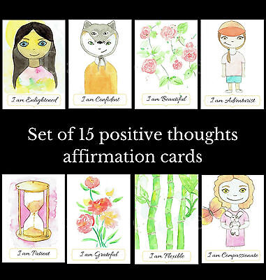 Watercolour Positive Thoughts Affirmation Card Set - tarot cards spiritual deck