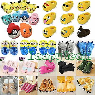 Emoji Pokemon Plush Stuffed Adult Kid Home Slipper Cartoon Indoor Slipper Shoes