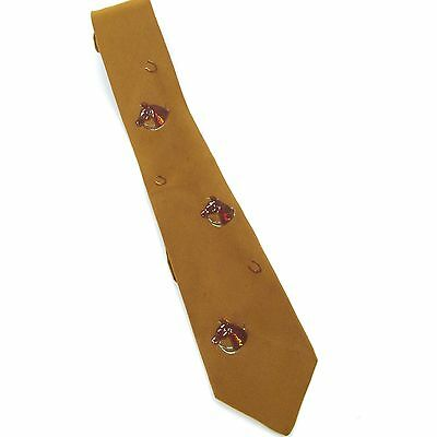 1950's vintage hand painted neck tie with horse heads and horseshoes
