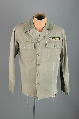 Vtg Men's US Army Korean War HBT Cotton 13 Star Button Jacket #2904 Shirt 50s