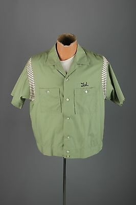 Vtg Men's 60s Green Olympian Embroidered Bowling Shirt Jac sz L 1960s Ted #2949