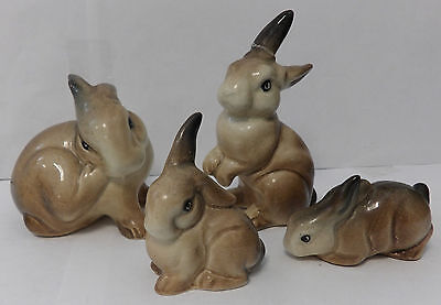 4 Beswick England Brown Bunny Rabbit Figurines - Arthur Gredington