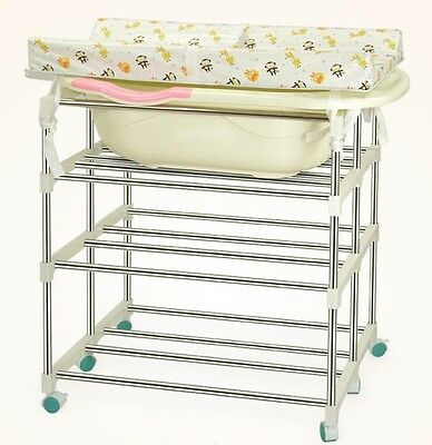 Multi Baby Changer Unit Table Portable Nursery Changing Station Bath Mat Storage