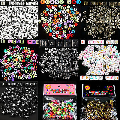 DIY Jewelry 200pcs Mixed Alphabet/Letter Square/Round Acrylic Spacer Loose Beads