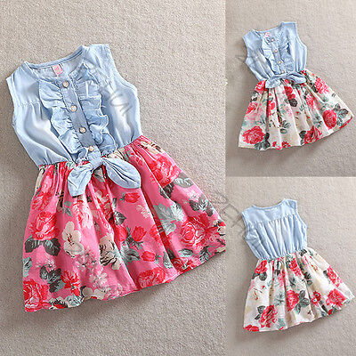 Baby Clothes Toddler Infant Girls Dress Bow Floral Denim Sleeveles Sundress AU