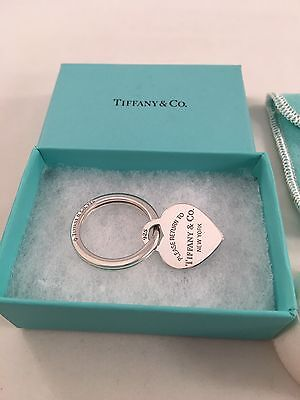Tiffany & Co Sterling Silver Heart Tag Key Ring RRP $225