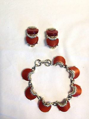 Vintage Gold Tone Bracelet and Clip On Earrings Set with Crescent Lucite Stones
