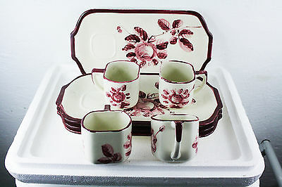 """Set of 4 Nasco Hand Painted Tea Snack Luncheon Cups/Plates 13"""" by 6 ¾"""" Red/White"""