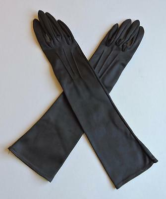VINTAGE EARLY 1960's  BROWN ELBOW LENGTH NYLON GLOVES BY KIR - SIZE 6.5