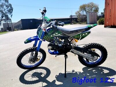 Bigfoot 125Cc Pit Motor Dirt Bike Trail Motocross Terrain Pro Kick Start Big Whl