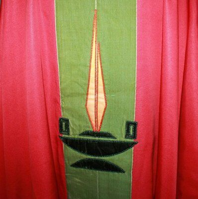 Antique Red silk Priest Chasuble Vestment, Maniple, Burse