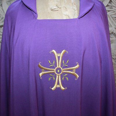 Vintage Purple Wool Priest Chasuble Vestment, Stole from Rome