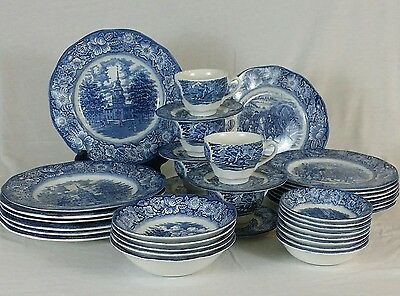 Set 38 pieces Vintage Liberty Blue Staffordshire Ironstone China  blue and white