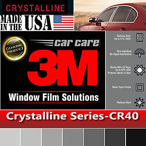 "3M Crystalline 40% VLT Automotive Car Window Tint Film Roll Size 30"" x 6"" CR40"