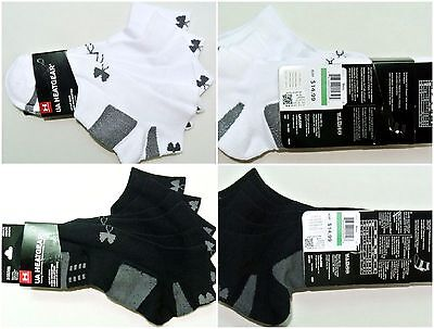 Under Armour Heatgear Men's Low Lo Cut Socks 3 Pair Pack Large White Black New