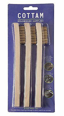 Mini Wire Brush Set of 3 Parts Cleaning Brushes with Wooden Handle & Soft Brass
