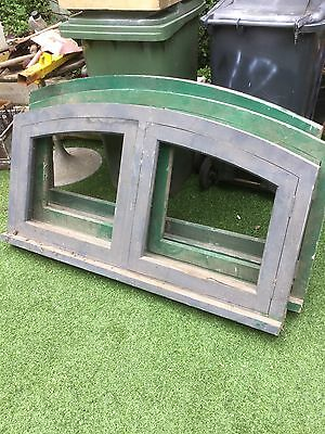 1 Of 3 Reclaimed Architectural Salvage wooden timber frame window arched top