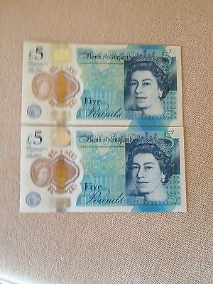 Great Britain 2 Consecutive 5 Pound Banknote, 2016 UNC, Polymer, 07/12/42-43
