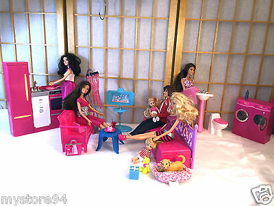 Barbie Doll Kelly Ken Play House Furniture Bed Kitchen Couch Washer Dryer Lot