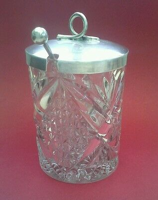 Lovely Vintage EPNS Heavy Glass  Preserve Jar with lid and spoon Art Deco Style