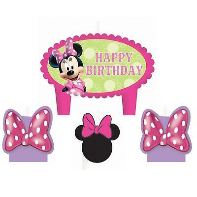 Disney Minnie Mouse Happy Birthday Candle Set 4 Piece Party Supplies