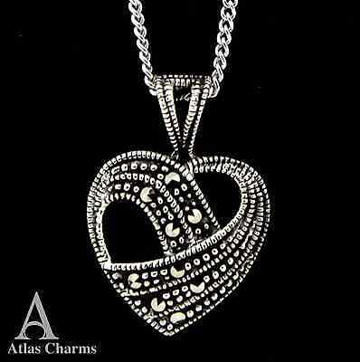 Marcasite Heart Love Necklace Pendant 925 Sterling Silver jewellery charm Box