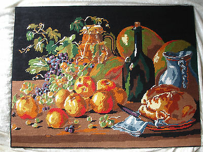HAND Emroidery/ tapestry art work,  still life  65x50cm made in France VGC