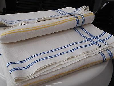 PAIR unused French vintage 100% Linen Damask with blue/yellow stripeTea Towels