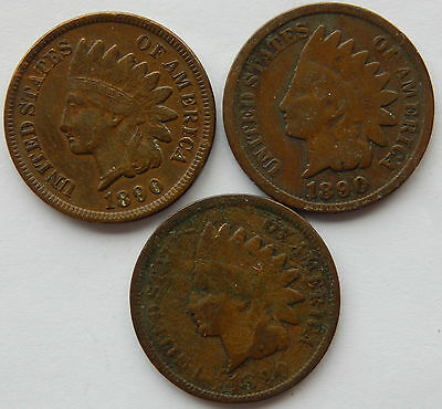 "1890 USA Indian Head 1 Cent Coin ""Lot of 3 Coins""   SB3979"