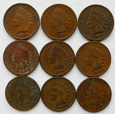 """1904 USA Indian Head 1 Cent Coin """"Lot of 9 Coins""""  SB4001"""