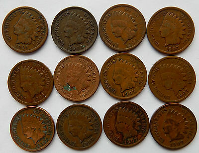 """1907 USA Indian Head 1 Cent Coin   """"Lot of 12 coins""""  SB3996"""
