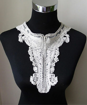 Antique White High Detailed Floral Venise Lace Large Collar-V0056